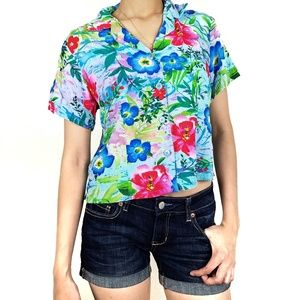Jams World Floral Cropped Button Down Shirt Small